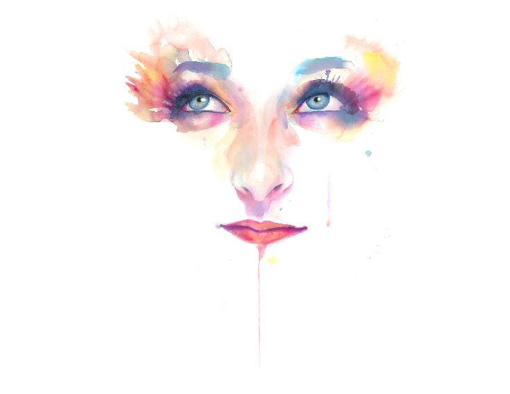 Marion Bolognesi, painting, art, face, color, water color,