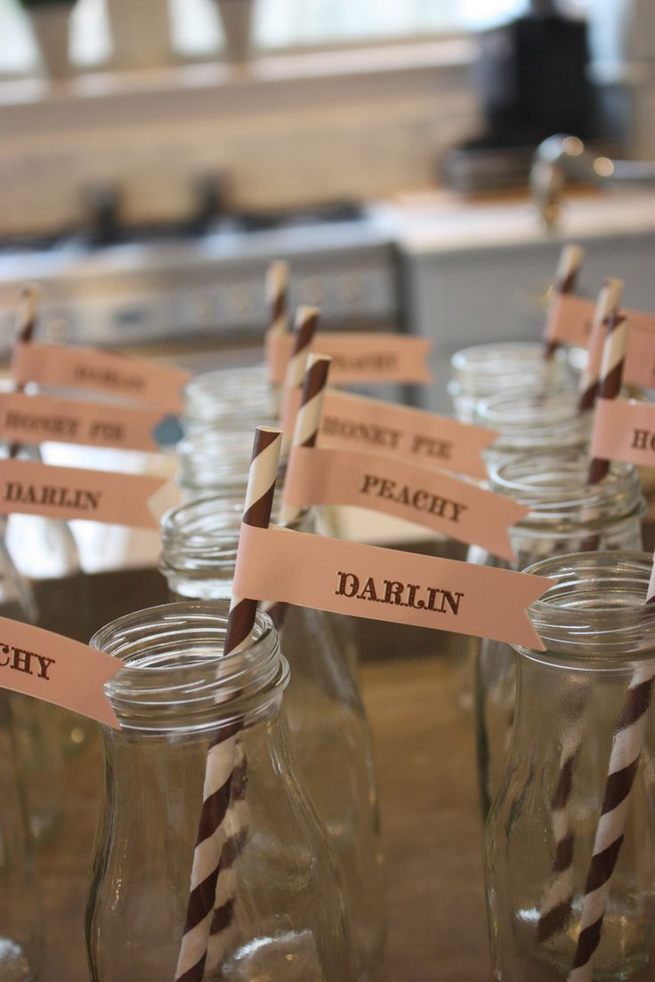 """ southern baby shower"" straws and tags with southern endearments"