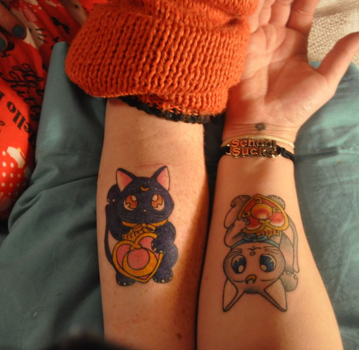 Artemis and Luna tattoo, Sailor Moon tattoo, lucky cat tattoo --- if I had a bestie who watched Sailor Moon, we'd totally get this