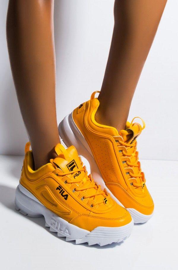 Side View Fila Womens Disruptor Ii Premium Sneaker In Gold