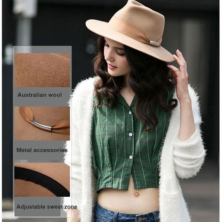 0926XB Woman Vintage Khaki Black 100% Wool Fedora Fashion Winter Curling Brim Jazz Hat With Belt Decoration Felt Hats XB-D729
