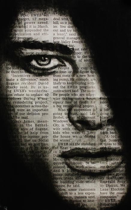 Art in the news 7, charcoal drawing on newspaper, michael cross art