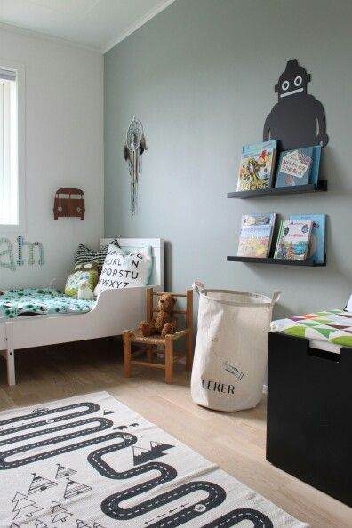 "Wall painted with Jotun's ""Minty Breeze""."