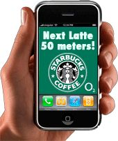 Starbucks. Advertising that you are never far from a starbucks, or some kind of location based app.