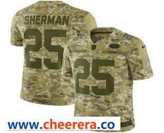 Men s San Francisco 49ers  25 Richard Sherman 2018 Camo Salute to Service  Stitched NFL Nike Limited Jersey 2c7192b50