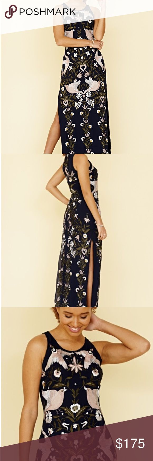 Frock and frill embroidered maxi dress Beautiful navy gown with pretty embroidered detailing. Never been worn besides try on at home frock and frill Dresses Maxi