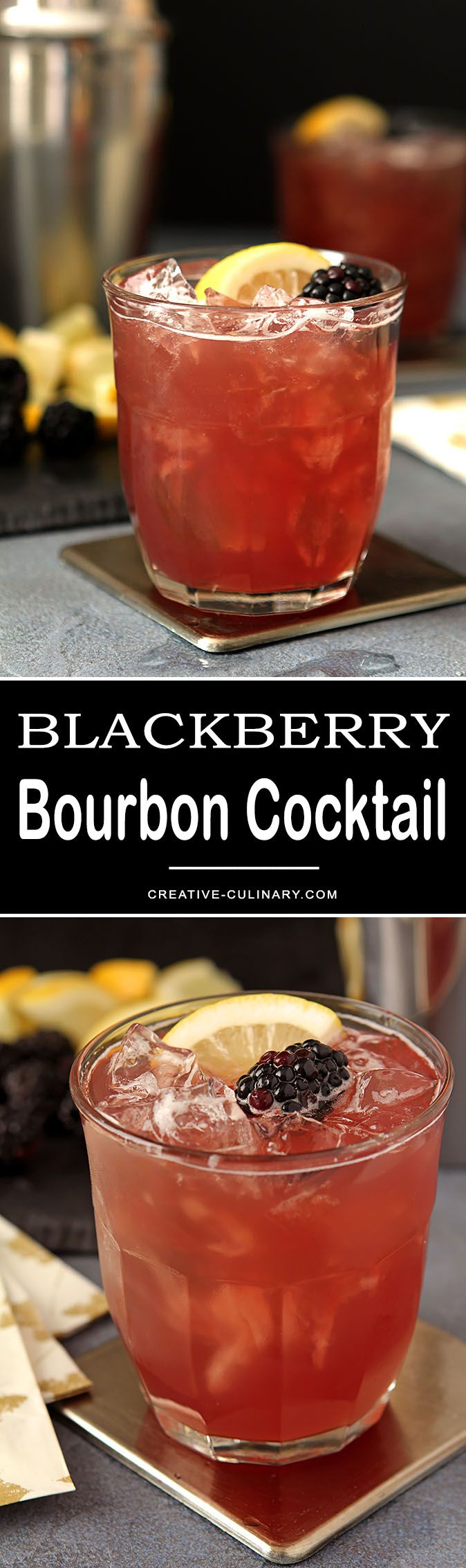 A great seasonal cocktail from fall through winter. Blackberry liqueur, lemon, cranberry juice & bourbon make a cocktail that is refreshing and beautiful. via @creativculinary