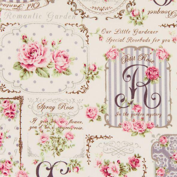 Bavlněná látka Růžičky s písmeny fialově šedé Rose for You