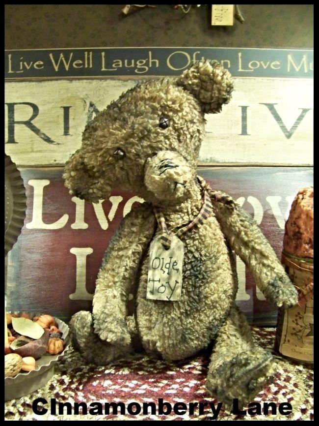 Primitive Grungy Bear Doll Olde Toy #NaivePrimitive #Artist