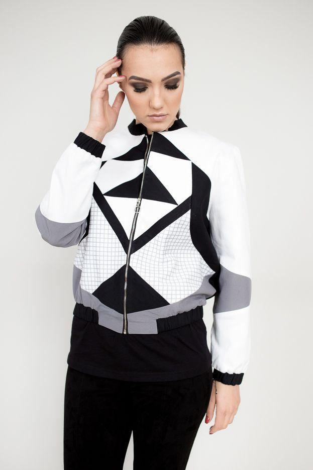 Bomber jacket   women fashion   design art   fashion brand   black and white   urban street