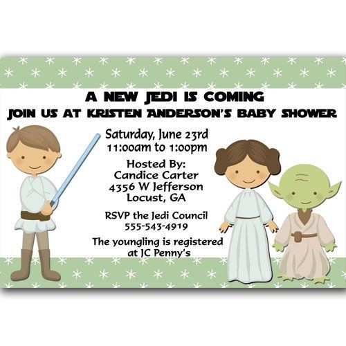 A New Jedi Star Wars Baby Shower Invitation Green