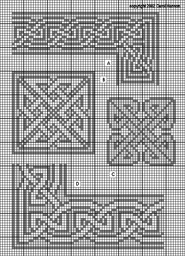 A. Celtic knotwork: interlaced border, medium (18 high with 14 repeat) B. Celtic knotwork: square knot panel, large (35 by 35) C. Celtic knotwork: square knot panel, medium (29 by 29) D. Celtic knotwork: interlaced border, wide (23 high with 19 repeat)