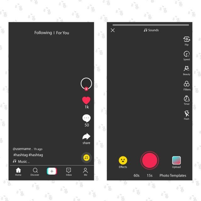 Tik Tok Screen Interface In Social Media App Tiktok And Video Icons App Audio Application Tiktok Png And Vector With Transparent Background For Free Downloa Desain Logo Bisnis Brosur Kreatif