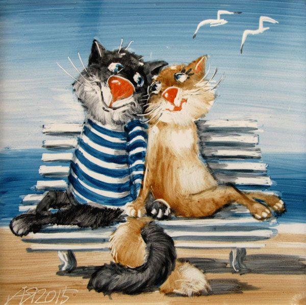 Прикольные картинки он и она коты, подписать ровно открытку