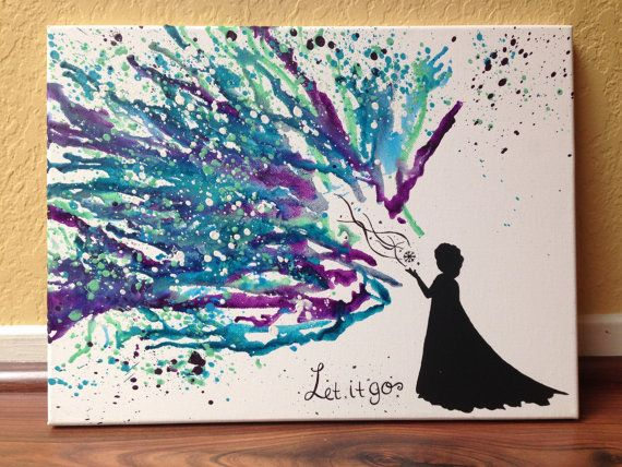 "Disney's ""Frozen"" themed Melted Crayon Art"