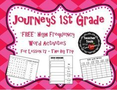 Journeys 1st Grade High Frequency Words Activity Pack - FREE! Lesson 17 - The Big Trip Make High Frequency Word practice fun with these fun activities to use with Lesson 17 - The Big Trip in the HMH Journeys first grade reading series. * 6 activities (7 pages) per story * *Roll and Write (1 page, uses the 6 ...