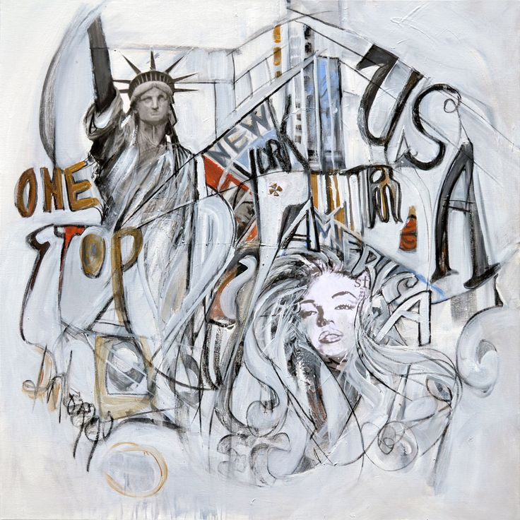 """""""One Stop USA"""" Original by Lucette Dalozzo Acrylic/Collage on Canvas 100 x 100cm Limited Edition Giclee Canvas Prints also available."""
