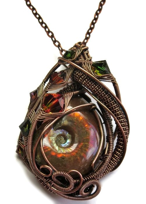 Opalized Ammonite Fossil Wire-Wrapped Pendant in Antiqued Copper with Swarovski Crystal (FAPC11) by Heather Jordan Jewelry