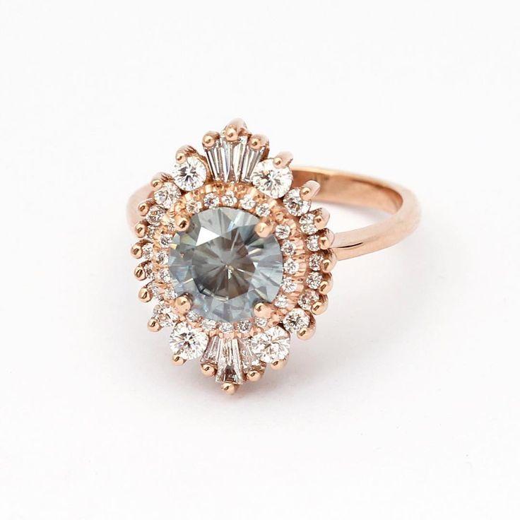 Blue-gray moissanite ring by Heidi Gibson