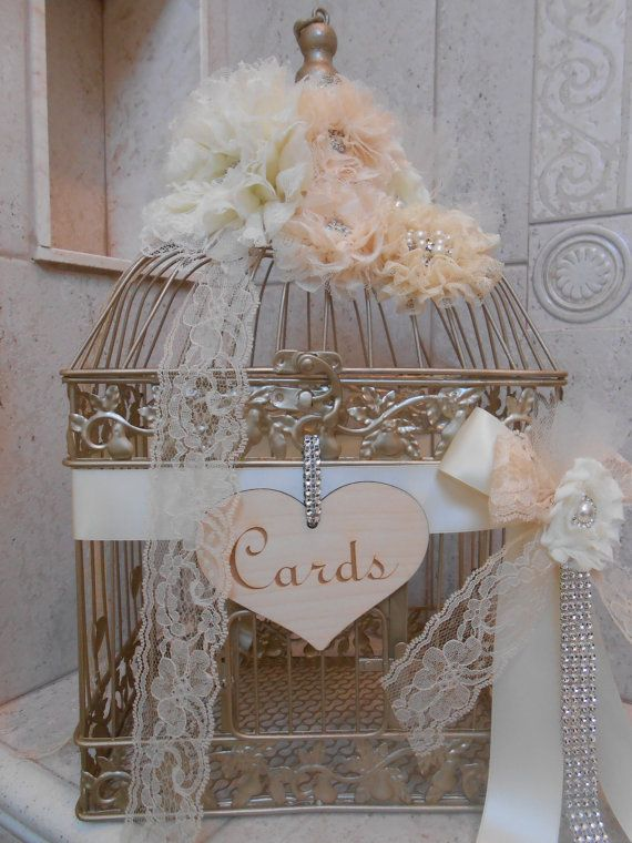 Birdcage Wedding Cardholder / Wedding Card Holder / by TheLaceMoon, $105.00