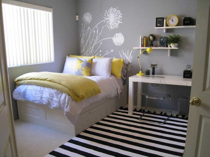 Bedroom-Ideas-for-Small-Room-with-white-grey-wood-glass-stainless-modern-design-small-bedroom-color-schemes-grey-wall-windows-white-bed-yellow-cover-bed-table-desk-line-rug-wall-racks