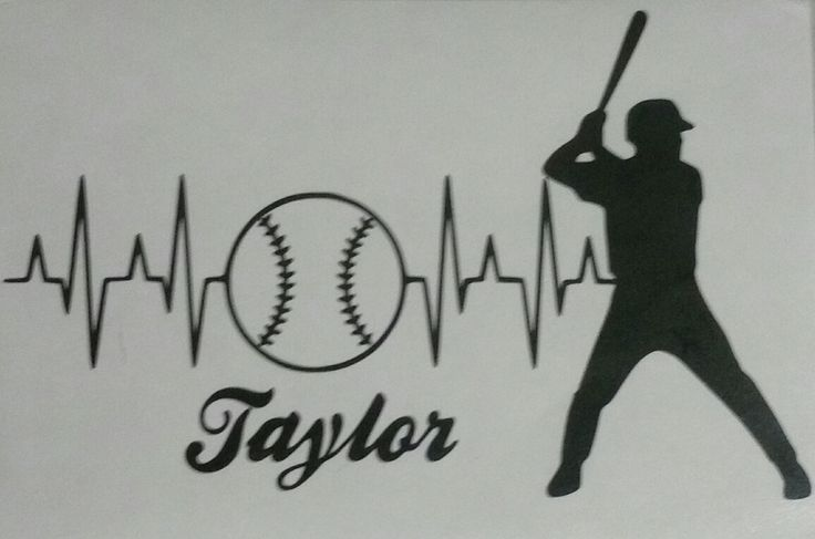 Personalized Heartbeat Baseball Player Decal, Baseball Decal, Yeti Decal, Car Window Decal by WoodlandEssentials on Etsy