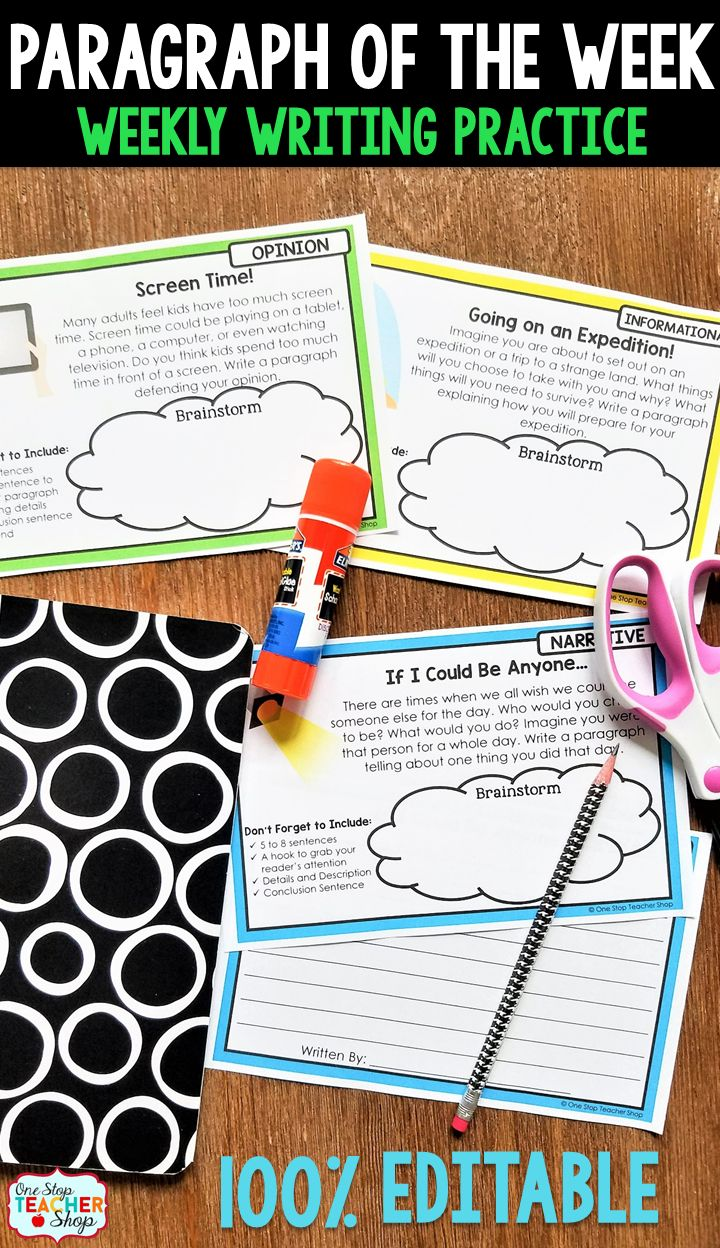 Paragraph of the Week helps improve paragraph writing skills through high-interest writing prompts. Get 60 Writing Prompt Cards that are EDITABLE! Narrative, Informational, & Opinion. Comes with drafting pages, revising and editing checklist, writing rubric, and a template to make your own!