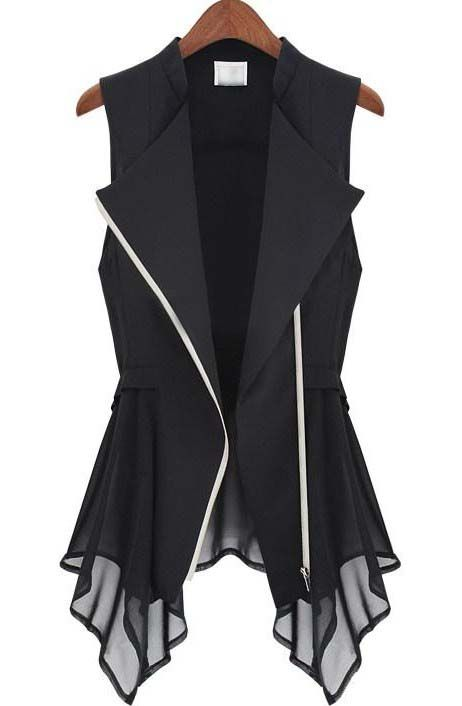 Black Sleeveless Zipper Bandeau Ruffles Outerwear - Sheinside.com