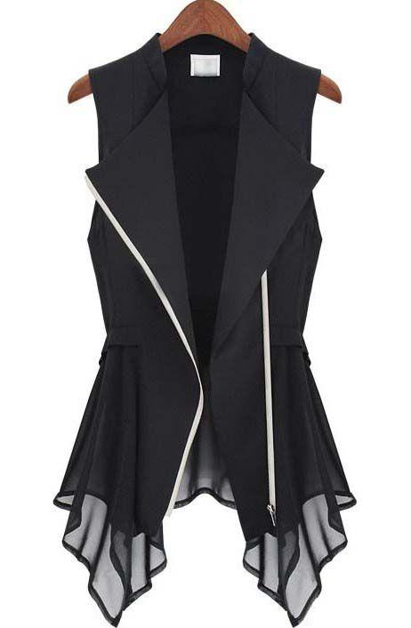 Black Sleeveless Zipper Bandeau Ruffles Outerwear