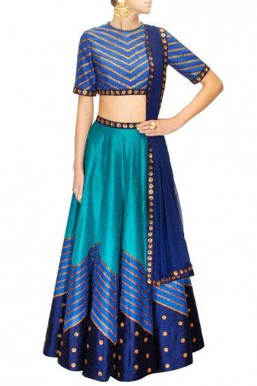 Blue Raw Silk Lehenga With Raw Silk Choli - DMV10094