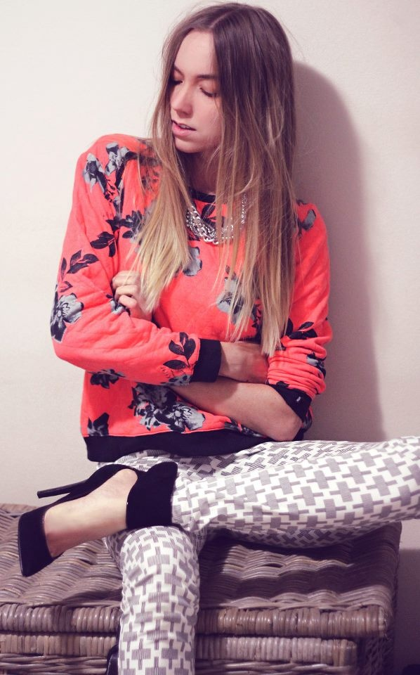Steph from Watermelon Crush wearing RUSTY 'Sixties Crew' quilted long sleeved jumper, available at THE ICONIC now.