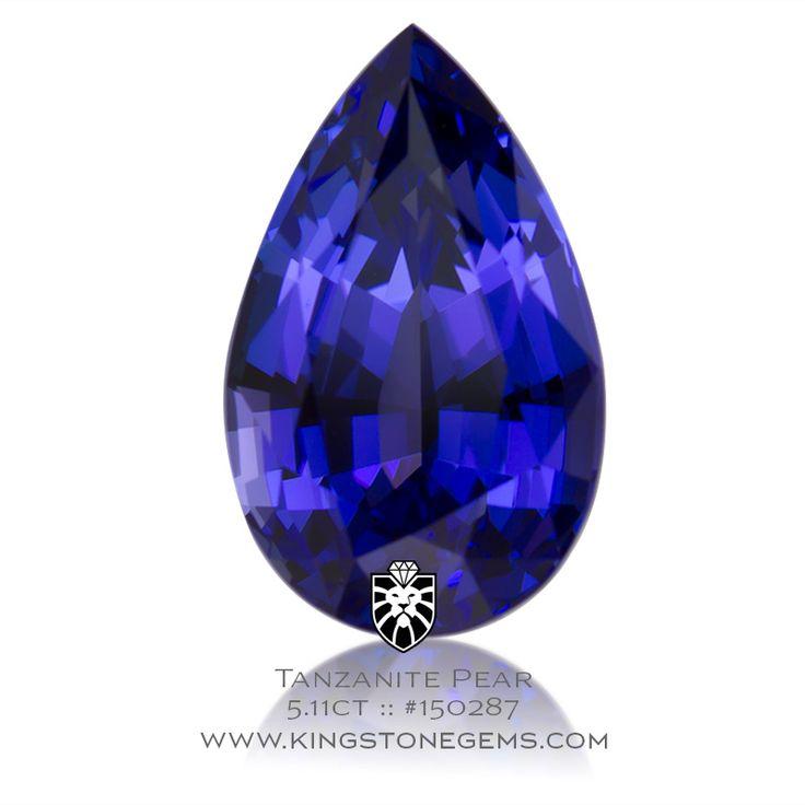 Natural Tanzania Blue Tanzanite Pear - 5.11ct - 13.8x8.6x6.7mm - SKU# 150287 - A beautiful vivid royal blue Tanzanian tanzanite pear available from King Stone Gem.