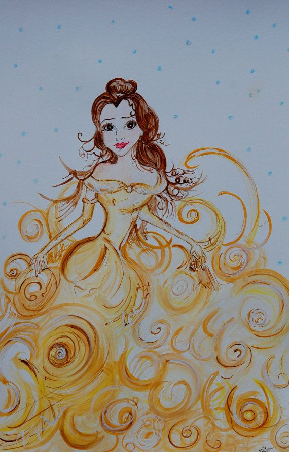 18x12 Princess Belle Beauty and the Beast Watercolor Gold Painting for Girls Original on Etsy, $75.00