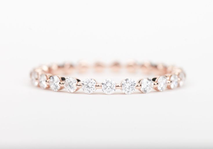 Diamond+Wedding+Band+14K+Rose+Gold+by+SundariGems+on+Etsy,+$820.00