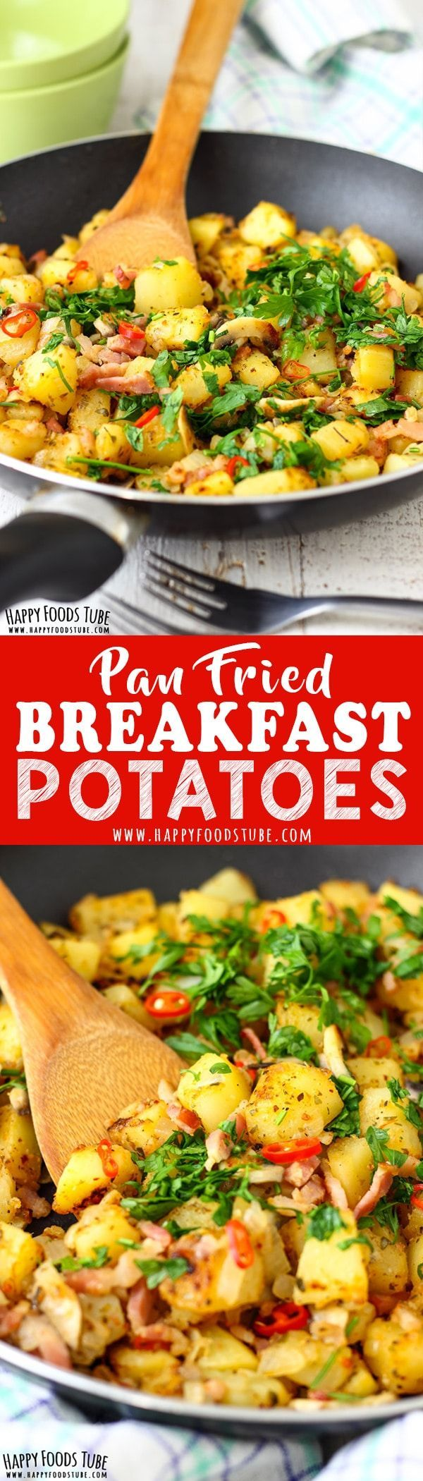 These pan fried breakfast potatoes are quick to make, filling and seasoned to perfection. Potatoes, mushrooms and bacon are turned into a delicious breakfast meal. Crispy pan fried breakfast potatoes recipe. #mealplanning #homecooking #breakfast via @happ