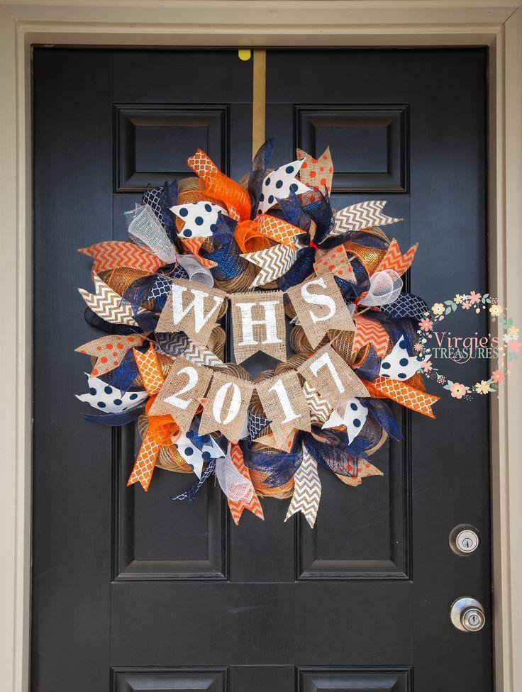High School Graduation Wreath Custom Burlap Banner Deco Mesh