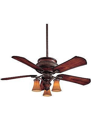 "Craftsman Wet Rated 52"" Ceiling Fan With 3 Lights and Mahogany Bronze Finish 