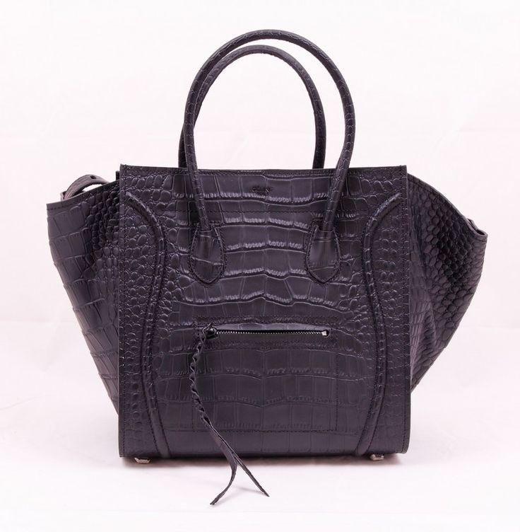 Сумка CELINE (Селин) Luggage bag из натуральной кожи с выделкой под крокодила черная