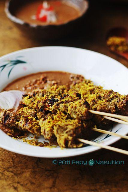Indonesian Food. Sate Klopo. Surabaya Coconut Beef Satay