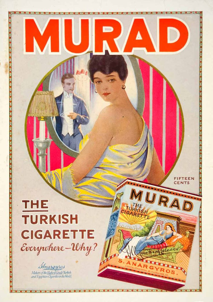 1916 Ad Murad Turkish Cigarettes Woman Man Smoking Tobacco Mirror Glamourous