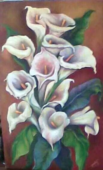 Mi pintura al óleo,flores,calad,alcatraces,cartuchos.