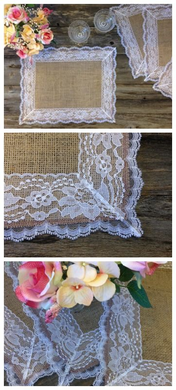 Brighten up your tabletop with the unique look of burlap and lace placemats. This sacking fabric not only adds texture and a bit of a rough feel, but is perfectly contrasted with vintage inspired lace.