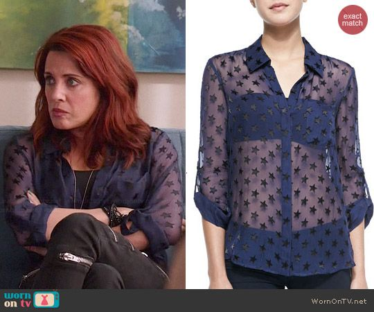 Jo's sheer blue star print shirt on Girlfriends Guide to Divorce.  Outfit Details: http://wornontv.net/46128/ #GG2D