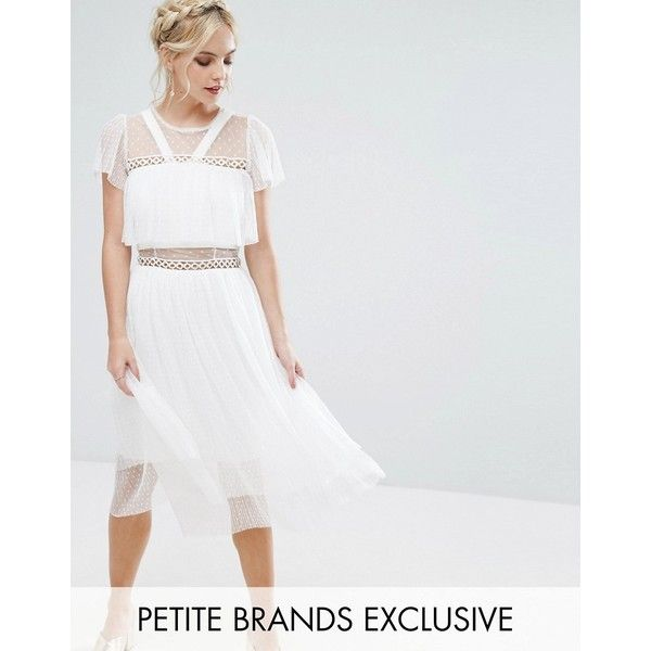 True Decadence Petite Tulle Ruffle Midi Dress With Metal Ring Detail ($98) ❤ liked on Polyvore featuring dresses, petite, white, petite dresses, midi skater skirt, ruffled dresses, petite midi dress and skater skirt
