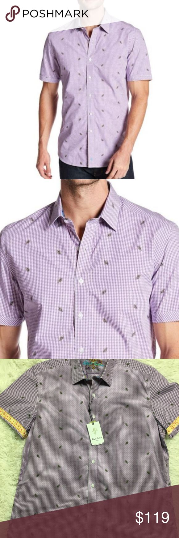 Robert Graham Mens Shirt XL Checkered Plaid White Robert Graham Mens Shirt XL Checkered & Plaid White Sea & Purple New NWT XL Total length is 32 inches, unstretched.  Chest is 52 inches unstretched Robert Graham Shirts Casual Button Down Shirts