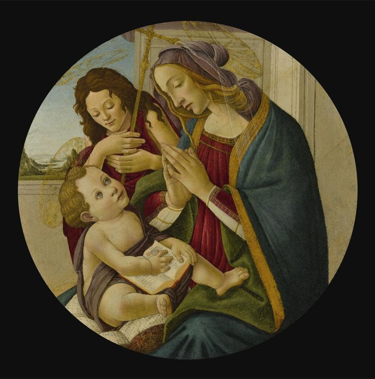 Workshop of Alessandro di Mariano Filipepi, called Sandro Botticelli FLORENCE 1445 - 1510 THE MADONNA AND CHILD WITH THE YOUNG SAINT JOHN THE BAPTIST oil on panel, a tondo diameter: 33 1/4  in.; 84.5 cm. sotheby's