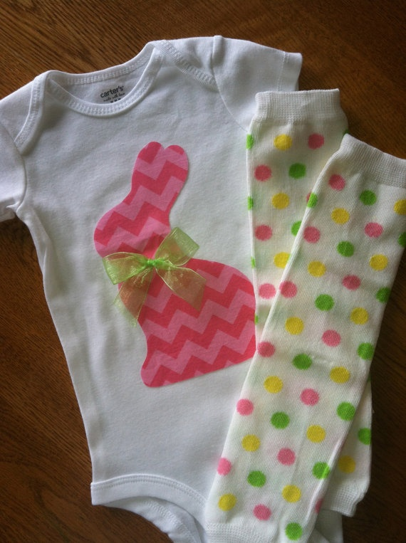 Hoping for a girl.... Easter Bunny Pink Chevron Outfit and Baby Leg Warmer by SewDazzled, $23.99 (to wear next yr)