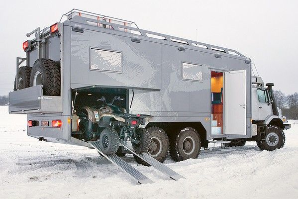 Now thats a ROAD TRIP VEHICLE  mercedes-benz-hunter-x6-tank-x-rv-that-can-hold-your-4-wheeler