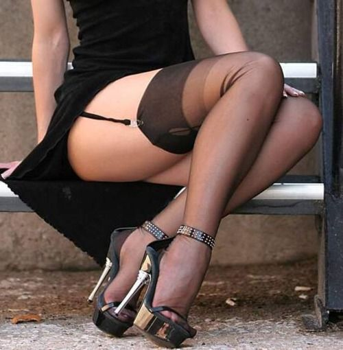 Black and white nylon stockings phrase