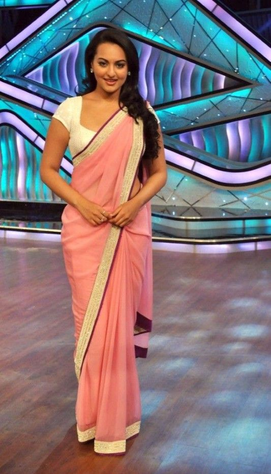 Sonakshi Sinha in Pastel #saree with glittery gold